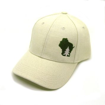 Wisconsin Hat - Cream Snapback  - pine tree in wisconsin green state