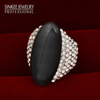 2016 New Vintage Big Black Agate Shuttle Rings For Women Size 7 8 9 18K White Gold Plated Brand Jewelry High Quality JZ512