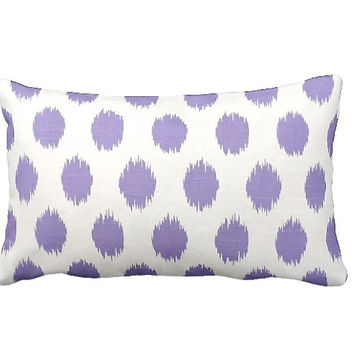 7 Sizes Available: Purple Throw Pillow Cover Decorative Polka Dot Pillow Purple Pillow Cover Purple Ikat Pillow Lavender Pillow Cover