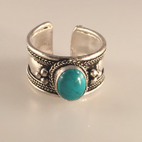Turquoise Stone Finger Ring, Nepalese Finger Ring, Adjustable Ring, Spiritual Ring, Nepalese Jewelry,Tibetan Jewelry