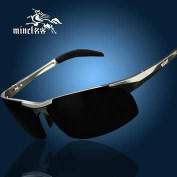 Mincl Aluminum Magnesium  Sunglasses men polarizing sunglasses brand design sun glasses oculos de sol Night vision glasses