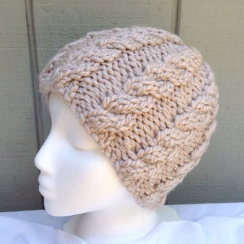 Womens beanie - Chunky knit beanie  - Knit cabled hat - Teens wool hat