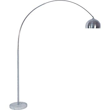 Adjustable Arced Floor Lamp With Brushed Steel And  Marble Base Silver