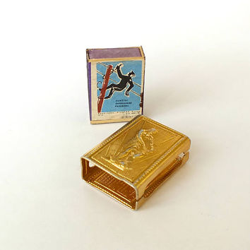 Vintage metal matchbox cover Leningrad 70s. Russian matchbox holder with old Soviet match box. Rare collectable gold tone aluminium holder.