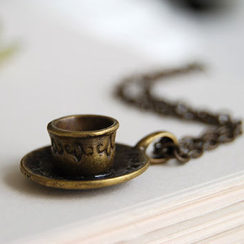 Teacup Necklace. Tea Cup Necklace. Coffee Cup Necklace. Coffee Mug Necklace.  Antiqued Bronze Teacup and Saucer Pendant Necklace