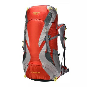 60L External Frame Climbing Bag Waterproof Polyester Material Unisex Travel Backpack for Camping Hiking Outdoor with Rain Cover