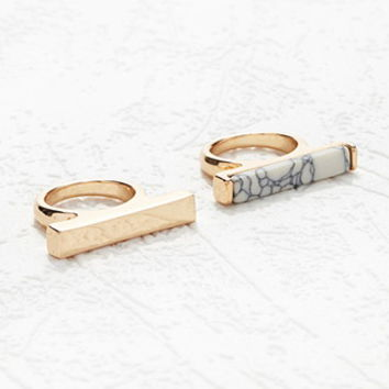 Faux Marble Bar Ring Set