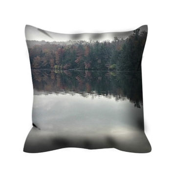 Misty Morning Pillow Cover, Fine Art Photography Mirror reflection, Grey Designer Pillow Cover