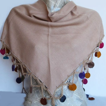 COLORFUL LEATHER CIRCLE Pashmina Scarf Or Shawl With Crochet Lace, Fashion, For Gift