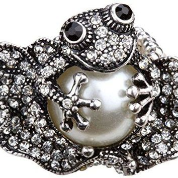 YACQ Jewelry Womens Crystal Frog Stretch Rings Scarf Ring Buckle Clip