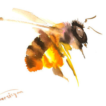 Honey Bee, Asian Traditional Style watercolor painting, original, 12 X 9 in, flying bee, honey bee art