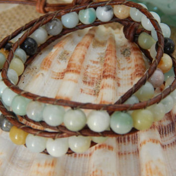 Amazonite and leather bracelet, natural greek leather, multicolor amazonite,leather wrap bracelet,boho chic,beachy chic,