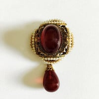 Elegant 1940's West German Brooch - Center Red Glass Cabochon, Seed Pearls and Tear Drop Glass with Filigree Cap, Brooch has Filigree Back