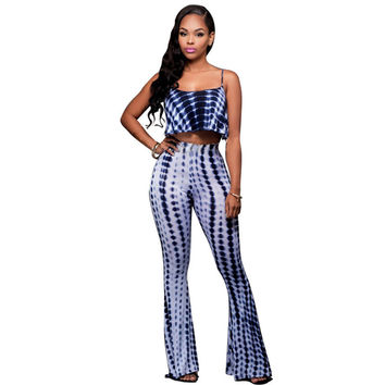 2 Piece Tie Dye Jumpsuit Backless Bodycon Bandage Bell Bottoms Jumpsuit
