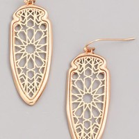 Filigree Dangle Earrings - Gold