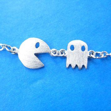 Namco PacMan & Ghost Arcade Game Themed Charm Bracelet in Silver | DOTOLY