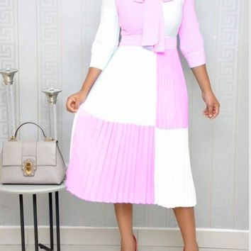 New Pink Color Block Bow Pleated Long Sleeve Elegant Church Party Maxi Dress
