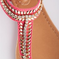 Leaf Design T-Strap Sandal - Pink from Sandals at Lucky 21 Lucky 21