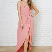 Coral Ruffled Wrap Maxi Dress