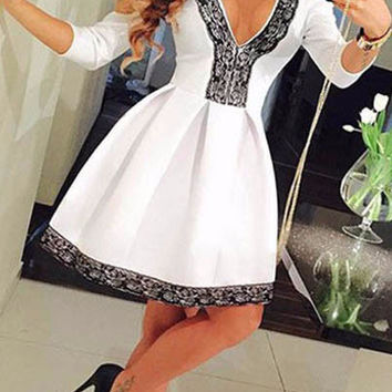 Black Lace Trim Fit and Flare Skater Dress