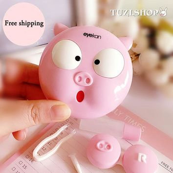Pink Pig Contact Lenses Box For Eyes Women Lens Case Cute Eyeglass Case Brithday Gift Glasses Box Eyewear Accessories