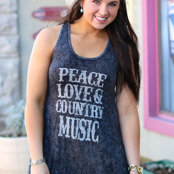 Peace, Love, & Country Music Tank {Black}