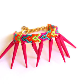 Hot Pink Spikes Friendship Bracelet by makunaima on Etsy
