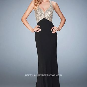 Long Fitted La Femme Dress 22189