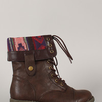 Qupid Seattle-01X Tribal Cuff Military Lace Up Boot