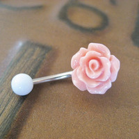 Rose Bud Belly Button Ring Coral Pink- Flower Floral Rosebud Navel Jewelry Piercing Bar Barbell