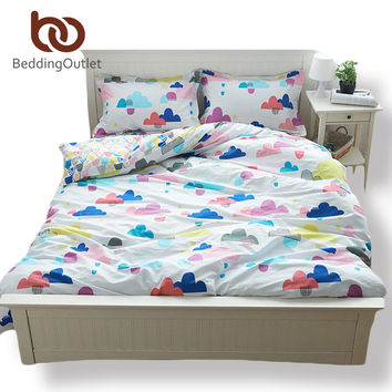 BeddingOutlet Clouds Bedding The New Listing Comforter Set Cartoon Style Plaid For Bed Warm Cotton Bedspread 4Pcs Queen Size