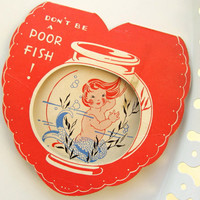 "Vintage Girl Mermaid in Fishbowl Valentine Card - Cute Valentine's Day Card w Wonderful Imagery from 1930's-1940's - ""Don't Be a Poor Fish!"""