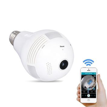 Fish Eye Lamp IP Wireless  Mini CCTV  Wi-Fi Home Security Camera