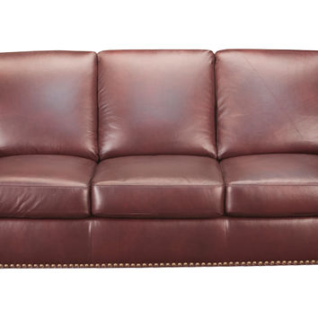 Taylor Leather Sleeper Sofa Queen Bed with Pocket-Coils