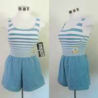 Nautical Sailor Romper Bathing Suit Gabar Vintage 1980s One Piece New With Tags