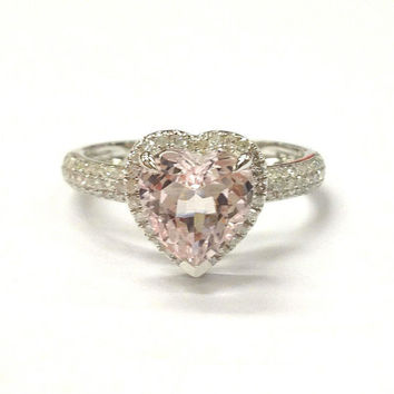 Morganite Engagement Ring 14K White Gold!Diamond Wedding Bridal Ring,8mm Heart Shaped Cut Pink Morganite,Halo,Pave,Can make matching band
