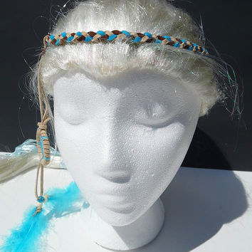 Braided suede dreamcatcher headband-brown, turquoise, and beige
