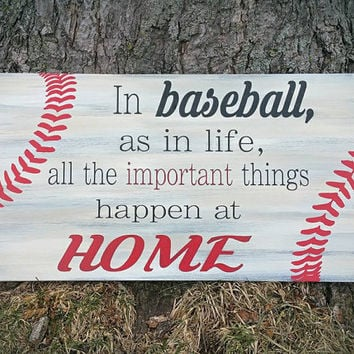 Baseball Home Sign/12x24/Handpainted Wood Sign