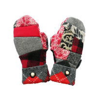 Fun Mismatched Wool Sweater Mittens Recycled Mittens Upcycled Women's Handcrafted in Wisconsin Black Red Gray Check Hippie Boho Badgers