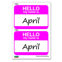 April Hello My Name Is - Sheet of 2 Stickers