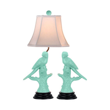 Cute Green Porcelain Pair of Bird Figurine Table Lamp 26.5""
