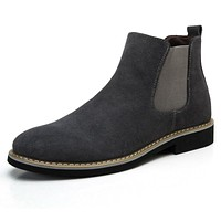 The Chelsea Boot Men Suede Hombre Martin Boots Low Heel Nubuck Leather Ankle Boots Vintage Sewing Thread Britain Botas M220