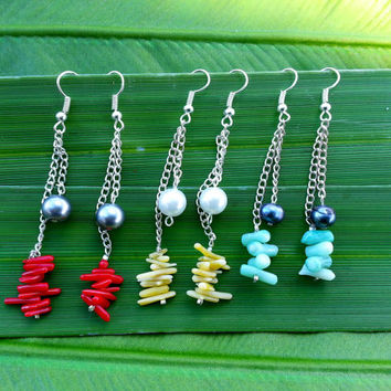 Coral mini 2 Dangle Pearl Earrings