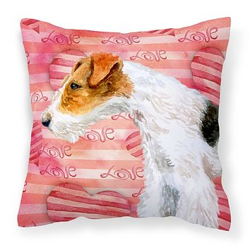 Fox Terrier Love Fabric Decorative Pillow BB9737PW1414