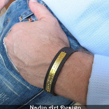 Mens Personalized Jewelry / Custom Mens Leather Wristband / Gift for Him / Adjustable Mens Leather Band