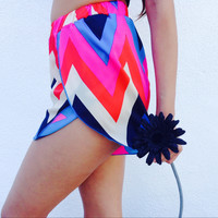 Pink Rainbow Chevron Shorts