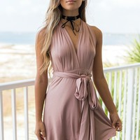 City Girl Taupe Tie Dress