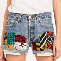 Urban Renewal Vintage Customised Ethnic Patch Raw Cut Shorts in Blue Denim - Urban Outfitters