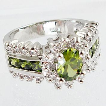 LMFUG3 Fashion women 925 sterling  silver Peridot & white topaz gemstones Rings Size 6 7 8 9 10 = 1946107972