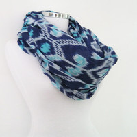 Ikat pattern infinity scarf, turquoise blue cotton circle scarf